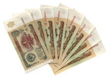 Sovjet benoemde Russische geïsoleerdee roebels, Stock Foto