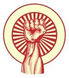 Sovjet de stijlvuist van de propagandaaffiche Stock Afbeeldingen