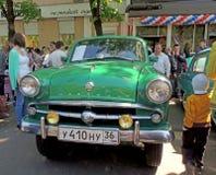 Sovjet retro F4 lay-outauto van jaren '60sedan Moskvitch 410 (Scaldia royalty-vrije stock afbeeldingen