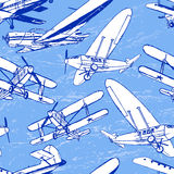 Sovjet retro vliegtuigen naadloos patroon Stock Foto