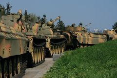Sovjet tanklijn Stock Foto