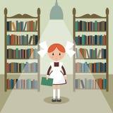 Sovjetbeeldverhaalschoolmeisje in bibliotheek Royalty-vrije Stock Fotografie