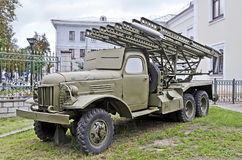 Sovjetisk åtskillig raketgevär Katyusha Arkivfoto