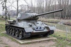 Sovjetisk behållare T-34-85 av världskriget II, krigbransch Arkivfoto