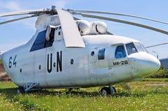 Sovjetisk militär-transport helikopter Mi-26 som visas på museet för Zhuliany tillståndsflyg i Kyiv, Ukraina Royaltyfri Foto