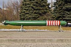Sovjetisk självgående elektrisk torped. Kaliningrad Ryssland arkivbild