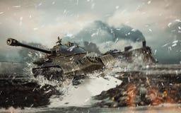 Sovjetisk stridbehållare på bakgrunden av den anföll brinnande lokomotivet Royaltyfria Bilder
