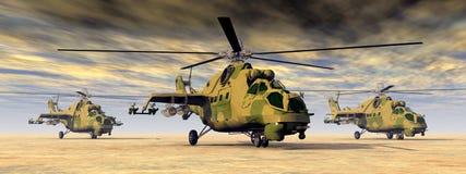 Sovjetiska attackhelikoptrar Fotografering för Bildbyråer