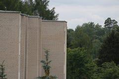 Sovjetiska lägenheter från tegelstenar bredvid naturen arkivfoto
