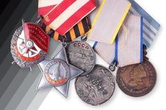 Sovjetiska militärutmärkelser för USSR Arkivfoton