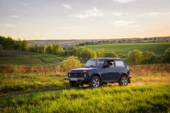Sovjetiskt och ryss SUV Lada Niva Arkivbild