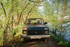 Sovjetiskt och ryss SUV Lada Niva Arkivfoto