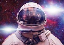 Sovjetkosmonaut in kosmische ruimte Photomontagebeeld royalty-vrije stock foto's