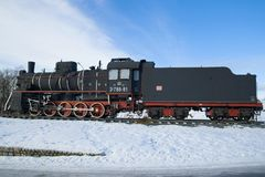 Sovjetstoomlocomotief van de reeks van ` ER ` op de Februari-dag Karelië Stock Foto