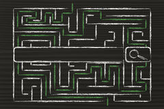 Sovraccarico di dati e di informazioni, labirinto e barra del motore di ricerca Fotografia Stock Libera da Diritti
