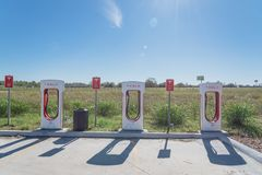 Sovralimentazione di Tesla in Flatonia, il Texas, U.S.A. Fotografie Stock Libere da Diritti