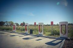 Sovralimentazione di Tesla in Flatonia, il Texas, U.S.A. Fotografia Stock