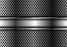 Sovrapposizione d'argento astratta dell'insegna su progettazione della maglia del cerchio del metallo Immagini Stock