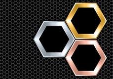 Sovrapposizione d'argento astratta di esagono del nero del rame dell'oro sul vettore futuristico di lusso moderno di struttura de royalty illustrazione gratis