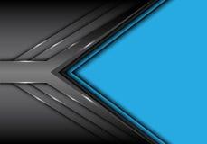Sovrapposizione grigia astratta della freccia del metallo sul vettore futuristico moderno blu del fondo di progettazione di spazi Fotografia Stock