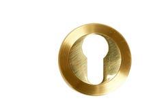 Sovrapposizione sulla serratura con un buco della serratura Fotografia Stock Libera da Diritti