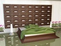 sovrum dekorerat mellanläggsläder Fotografering för Bildbyråer