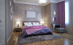 sovrum för tolkning 3d i grå färg- och vitsignaler Royaltyfri Foto