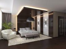 Sovrum i ett privat hus i brunt- och beigafärger Arkivfoto