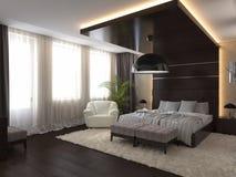 Sovrum i ett privat hus i brunt- och beigafärger Arkivbilder