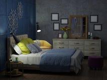 Sovrum i natten med ljus royaltyfria foton