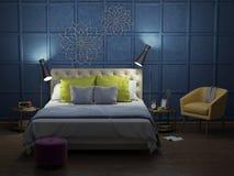 Sovrum i natten med ljus fotografering för bildbyråer