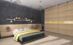 Sovrum med den stora garderoben Arkivfoto