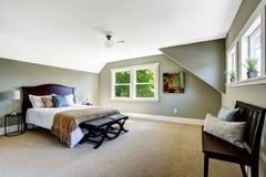 Sovrum med gröna väggar och det välvde taket Royaltyfri Fotografi