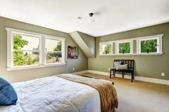 Sovrum med gröna väggar och det välvde taket Arkivfoton