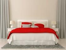 Sovrum med röda och gråa garneringar arkivfoto