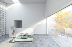 Sovrum med trädet vektor illustrationer