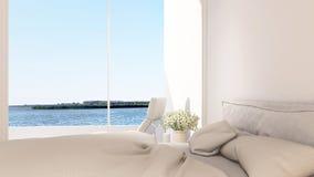 Sovrum- och terrasssikt i hotellet - tolkning 3D Royaltyfri Fotografi