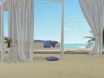 Sovrum som förbiser havet Arkivbilder