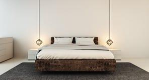 Sovruminre för modernt hem- och hotellsovrum Arkivbilder
