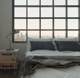 Sovruminre med jättestor säng mot enormt fönster royaltyfri illustrationer