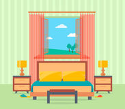 Sovruminredesign i plan stil inklusive säng, tabellen, lampor, nightstands och fönster royaltyfri illustrationer