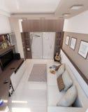 Sovrummet för den unga mannen, inredesign, framför 3D Royaltyfria Bilder