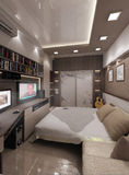 Sovrummet för den unga mannen, inredesign, framför 3D Fotografering för Bildbyråer