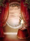 sovrummet hänger upp gardiner den röda victorianen stock illustrationer