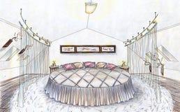 sovrummet tecknade handen skissar Fotografering för Bildbyråer