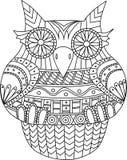 Sowa konturowy wektorowy wizerunek Paskuje plemiennego wzór Kreskówka stylowy ptak dla kolorystyki inny i książki Obraz Royalty Free