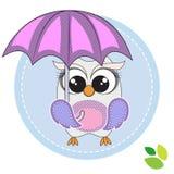 sowa śliczny parasol Fotografia Royalty Free
