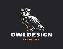 Sowa loga wektoru ilustracja dekoracyjnego projekta emblemata graficzny ilustracyjny wektor Obraz Royalty Free