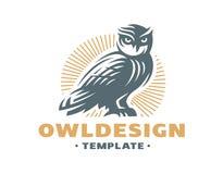 Sowa logo - wektorowa ilustracja dekoracyjnego projekta emblemata graficzny ilustracyjny wektor Obraz Stock