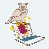 Sowa na laptopie Zdjęcie Royalty Free
